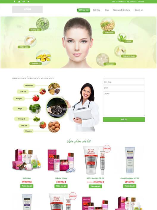Mẫu website bán hàng mỹ phẩm spa đẹp lung linh