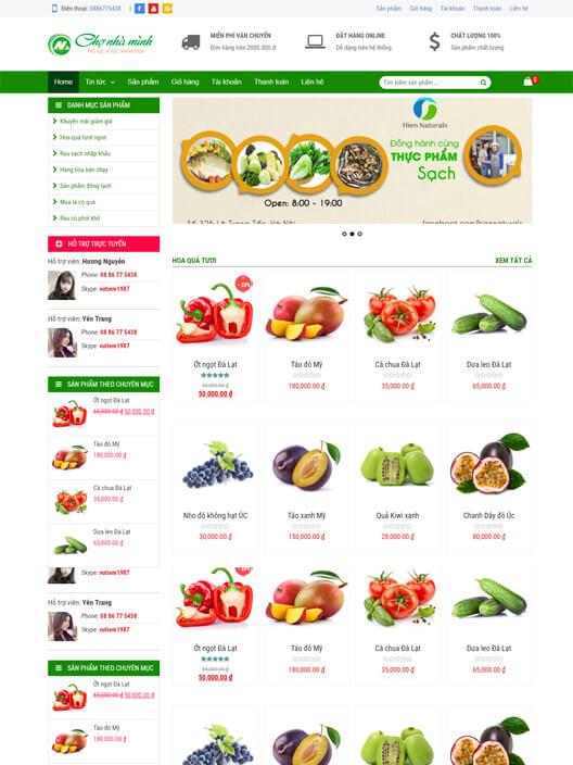 Mẫu website bán hoa quả