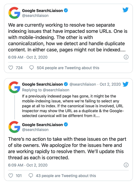 Thông tin Google công bố trên Twitter