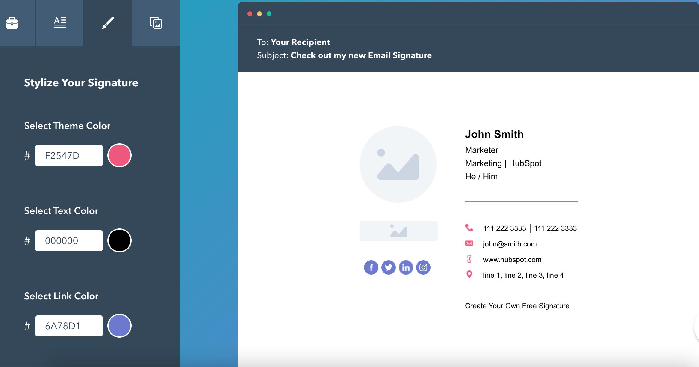 Chọn màu tạo chữ ký gmail chuyên nghiệp