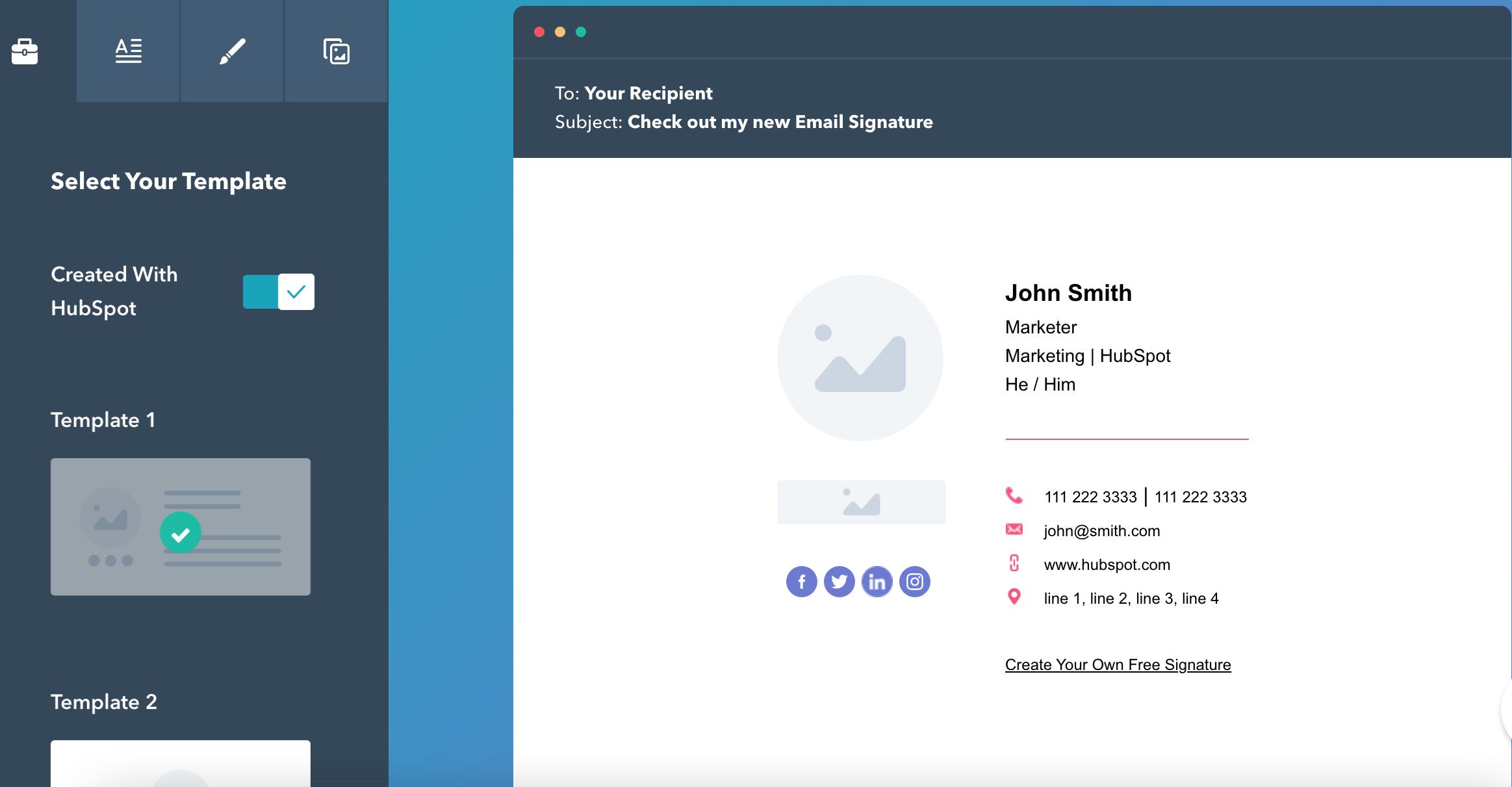 Tạo chữ ký Gmail chuyên nghiệp - Giao diện Hubspot