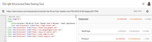 Công cụ kiểm tra dữ liệu cấu trúc của Google