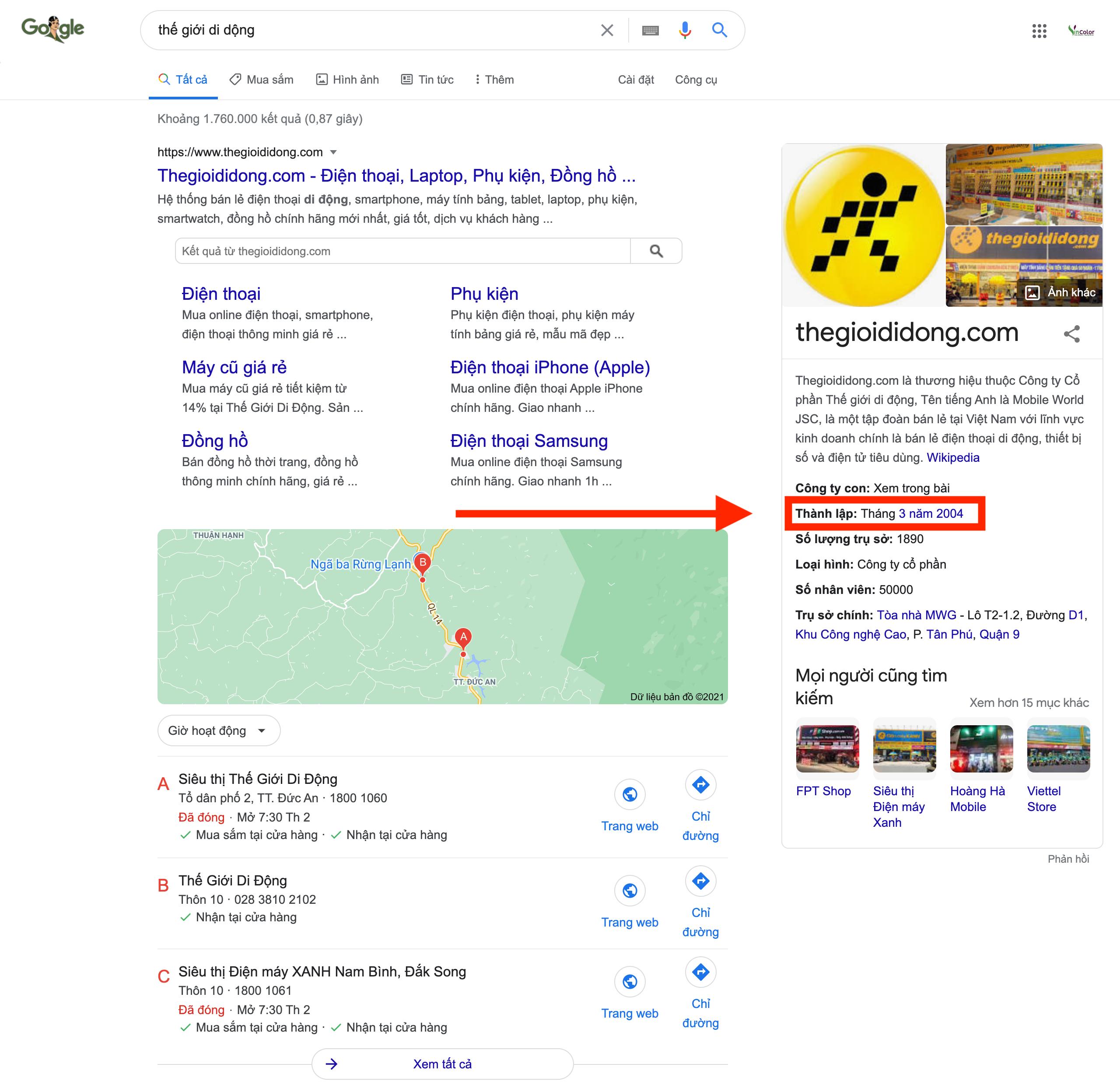 Hiển thị ngày thành lập trên Google Doanh nghiệp