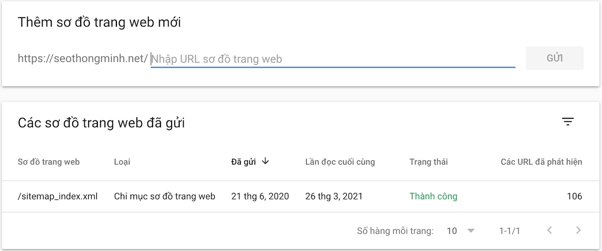 Thêm sitemap trong Google Search Console
